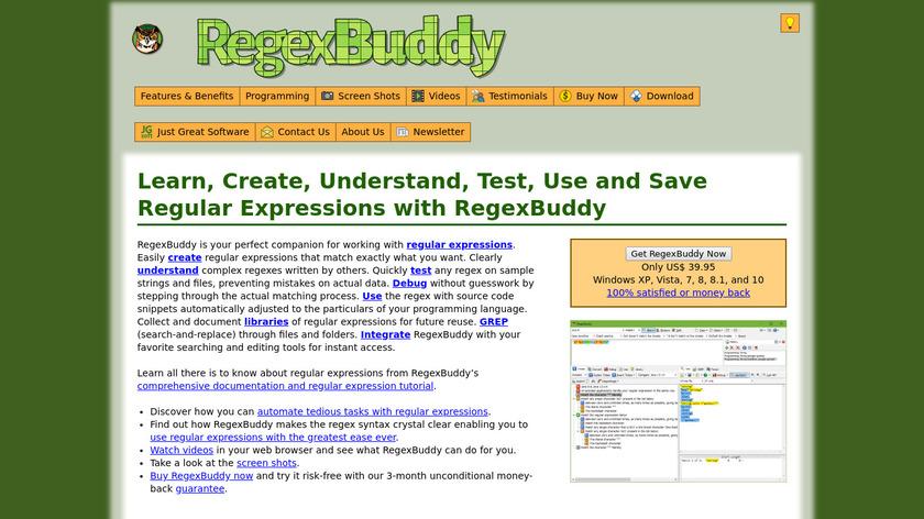 RegexBuddy Landing Page