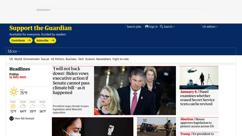 The Guardian Landing Page