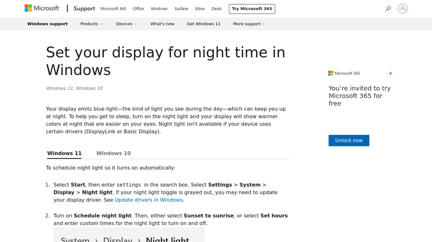 Windows Night Light Landing Page