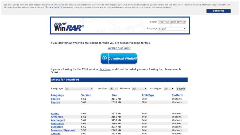 WinRAR Landing Page