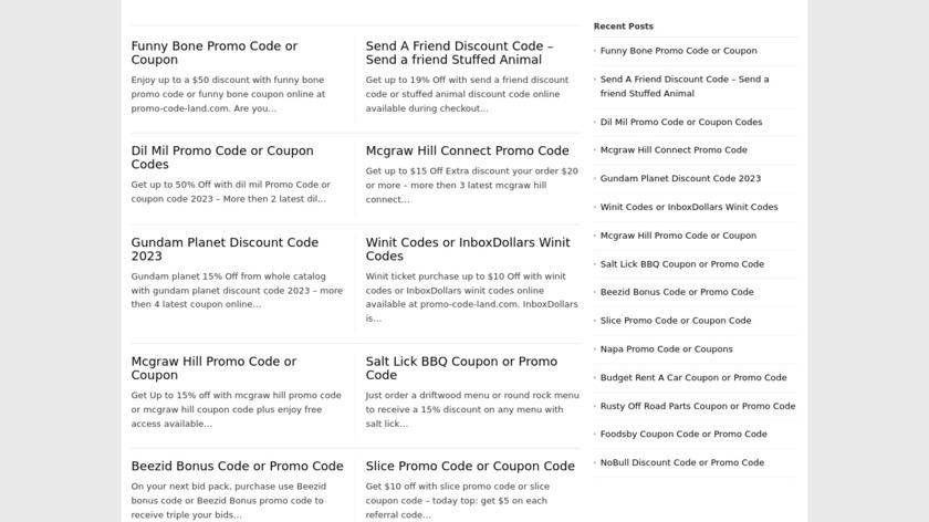 PromoCodeLand Landing Page