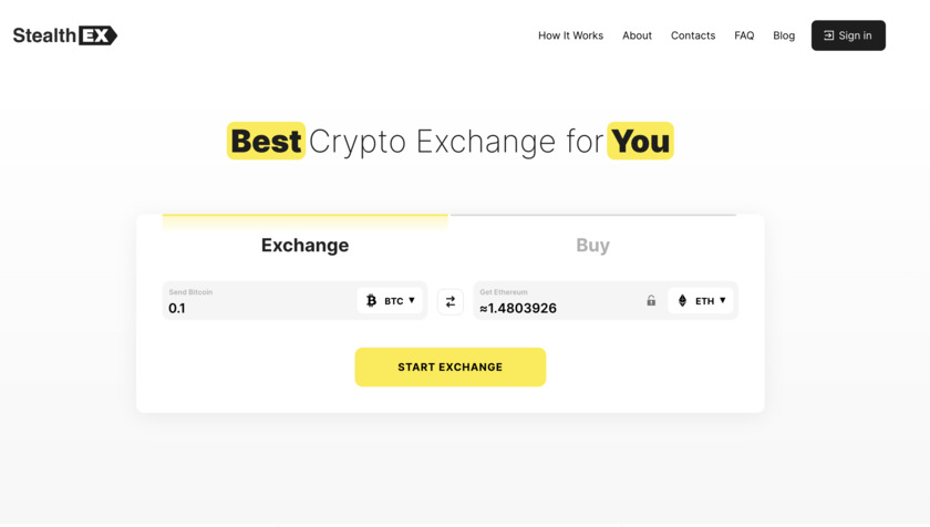 StealthEX.io Landing Page