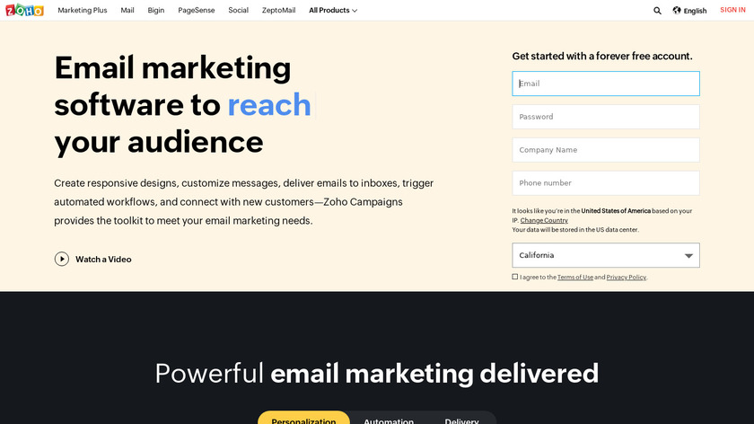 Zoho Campaigns Landing Page