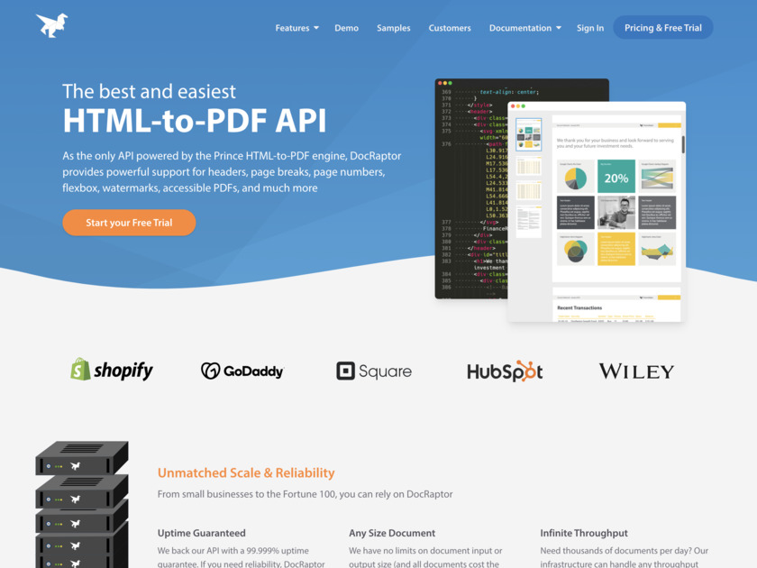 DocRaptor Landing Page