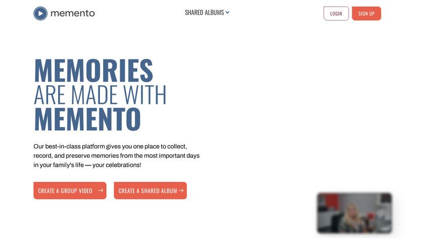 Memento Landing Page