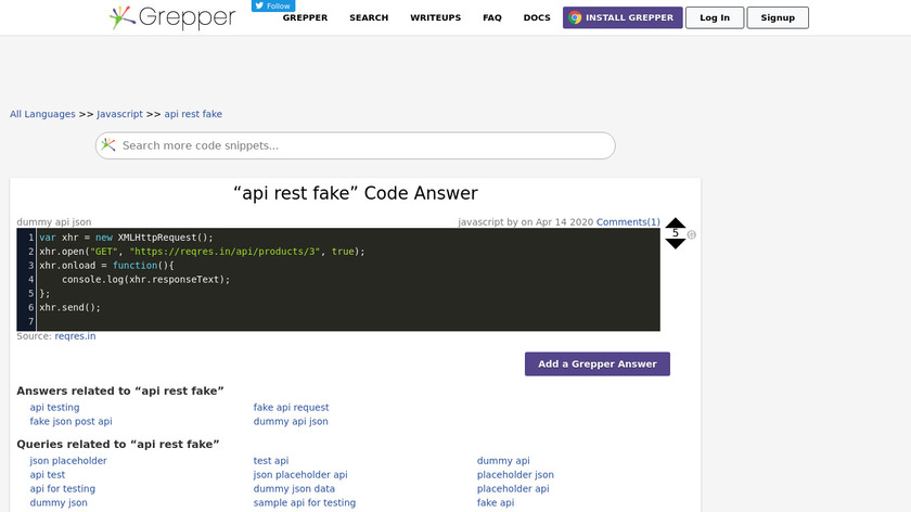 Codegrepper Fake Rest API Landing Page