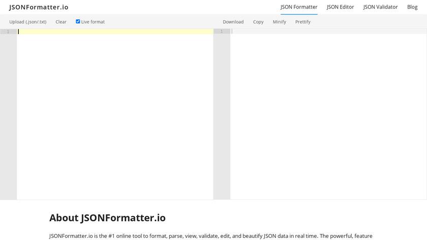 JSONFormatter.io Landing Page