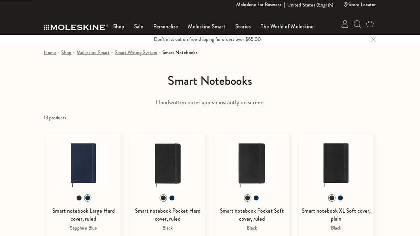 Moleskine Smart Notebook Landing Page