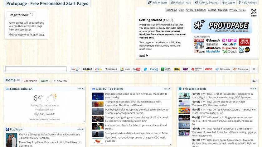 Protopage Landing Page