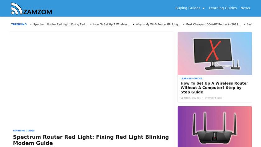 Zamzom Wireless Network Landing Page
