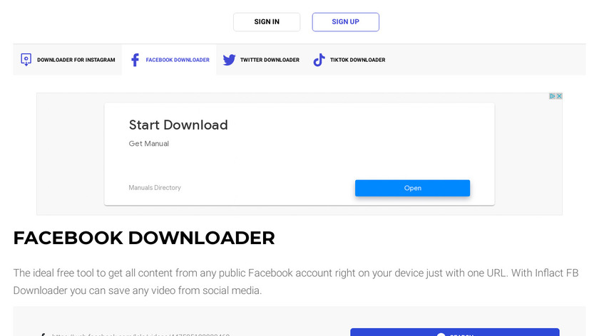 Inflact Facebook Downloader Landing Page