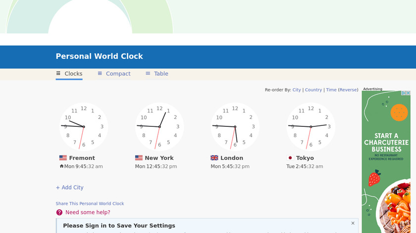 Timeanddate Personal World Clock Landing Page