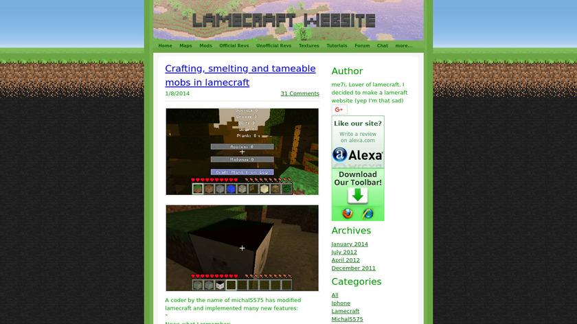 Lamecraft Landing Page