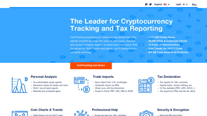 CoinTracking Landing Page