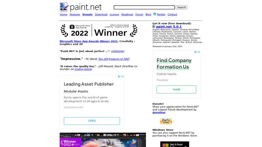Paint.NET Landing Page