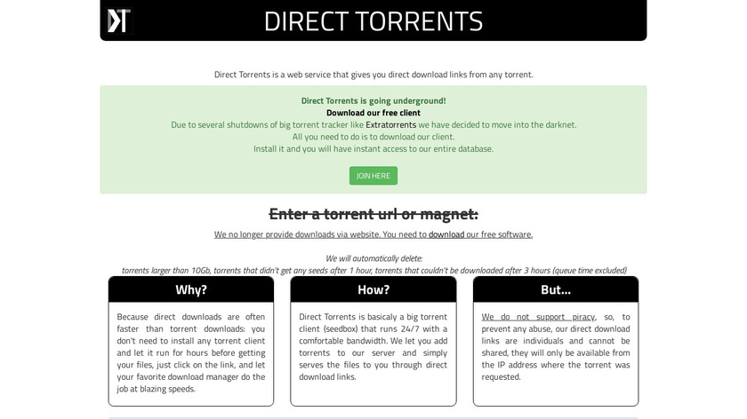 Direct Torrents Landing Page