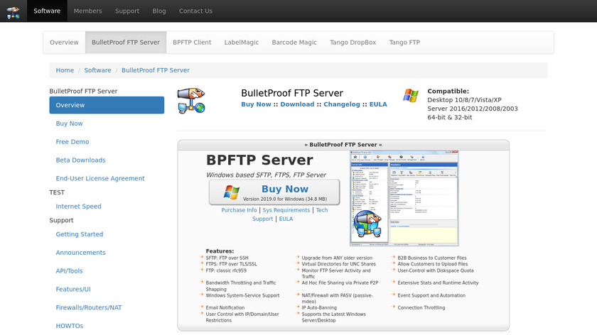 BulletProof FTP Server Landing Page