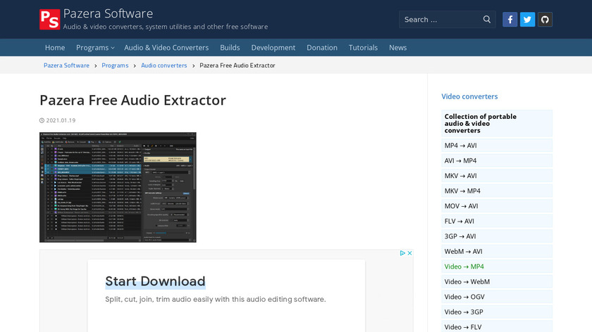Pazera Free Audio Extractor Landing Page