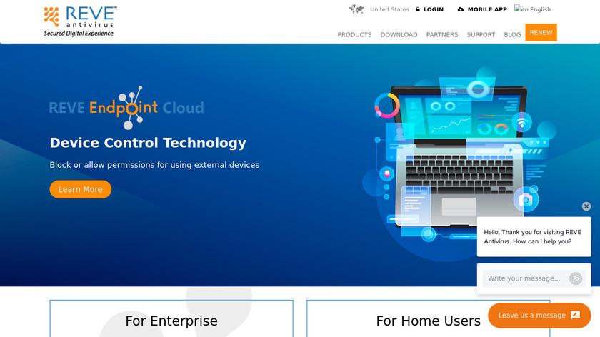 REVE Antivirus Landing Page