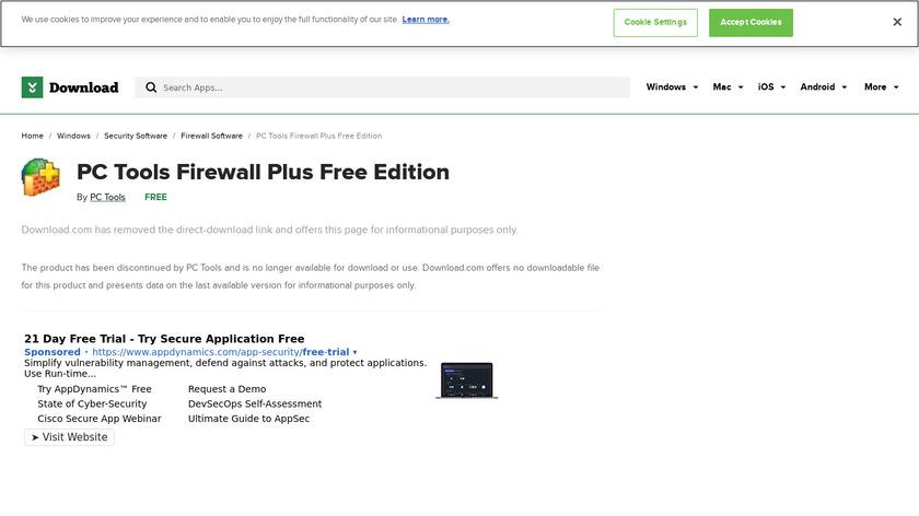 PC Tools Firewall Plus Landing Page