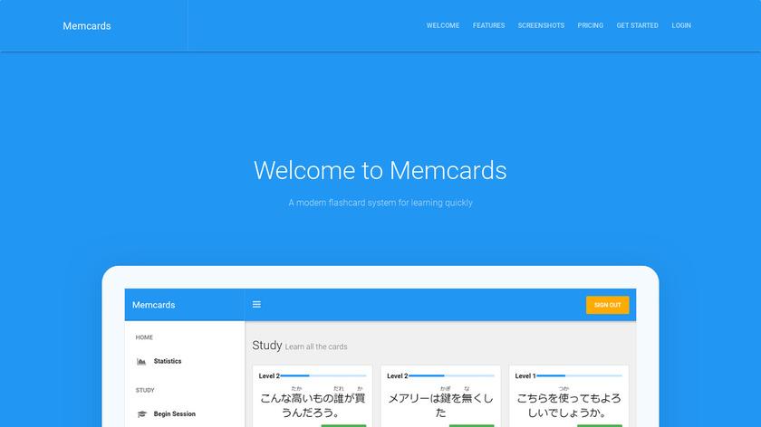 Memcards Landing Page