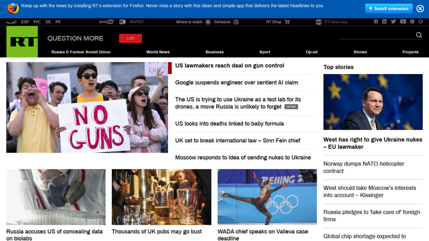 Russia Today Landing Page