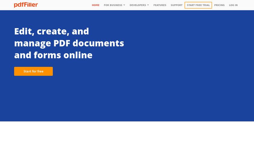 PDFfiller Landing Page