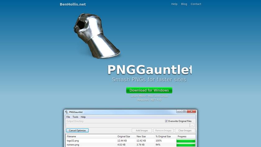 PNGGauntlet Landing Page