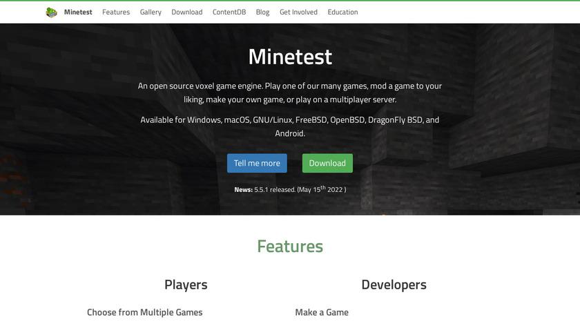 Minetest Landing Page