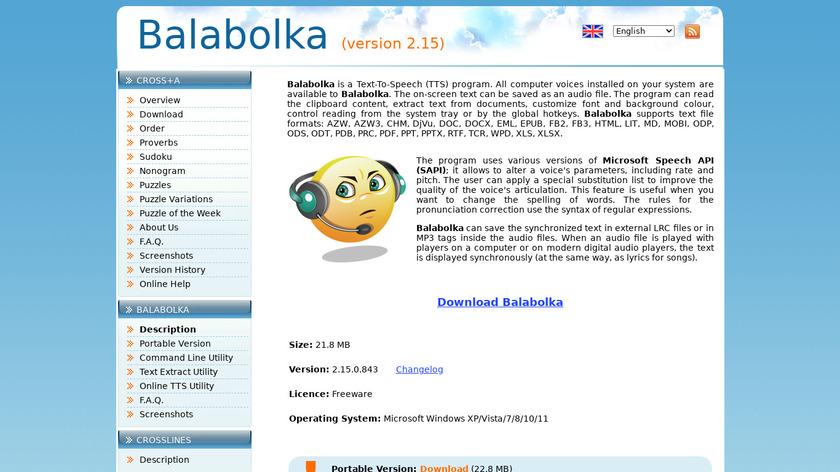 Balabolka Landing Page