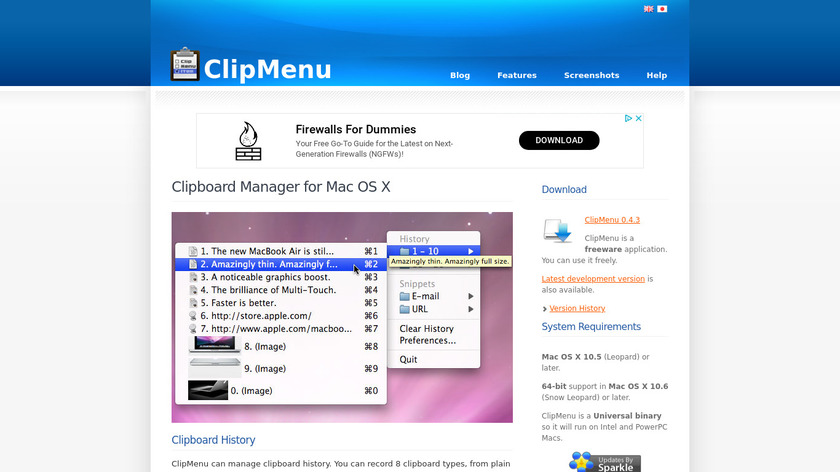 ClipMenu Landing Page