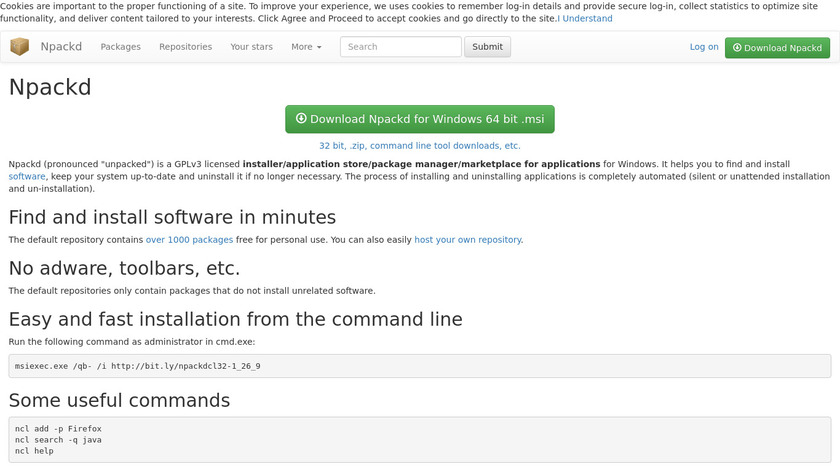 Npackd Landing Page