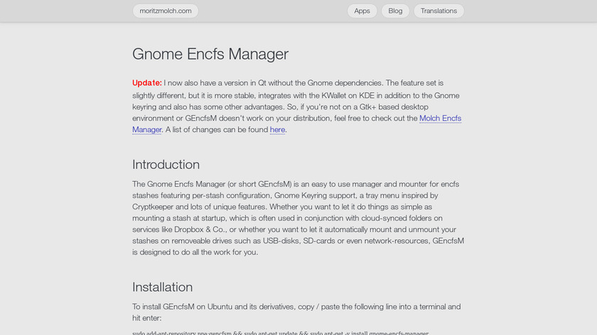 Gnome Encfs Manager Landing Page