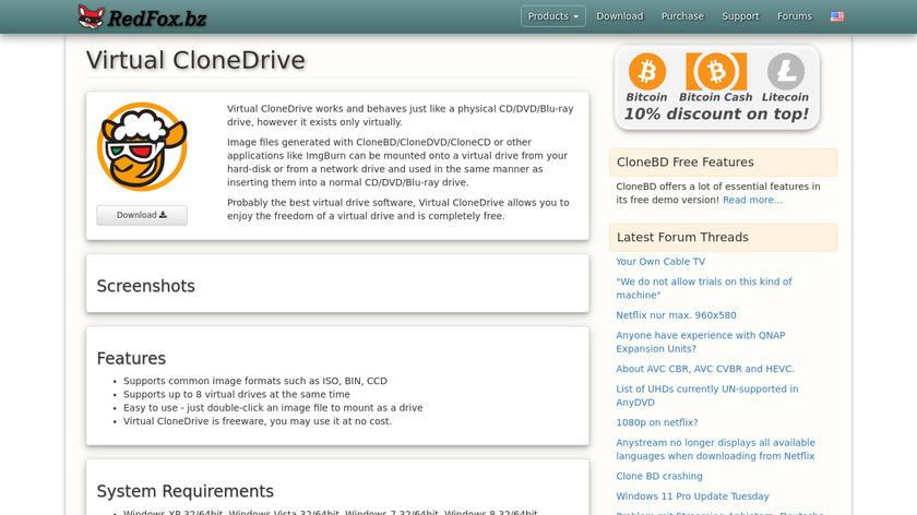 Virtual CloneDrive Landing Page