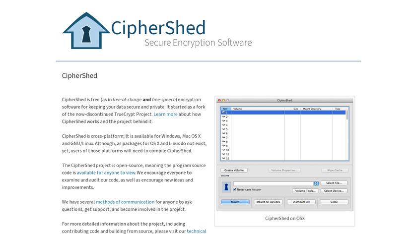CipherShed Landing Page