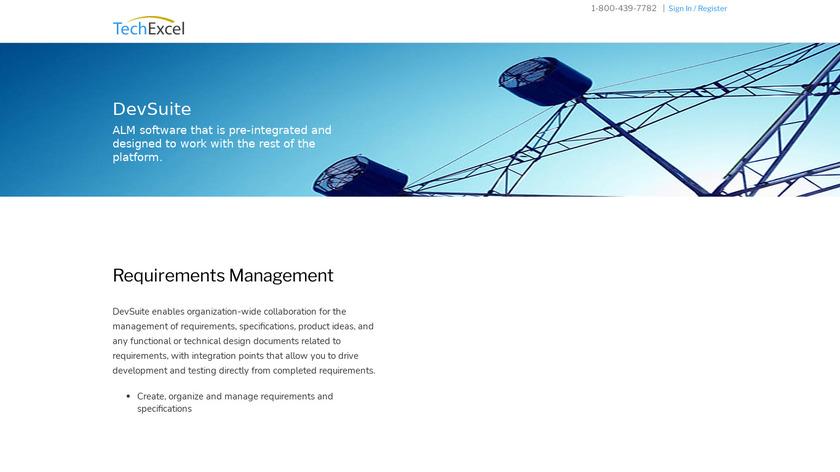 TechExcel DevSuite Landing Page
