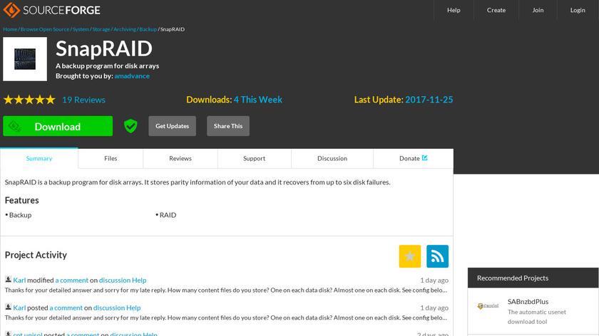 SnapRAID Landing Page