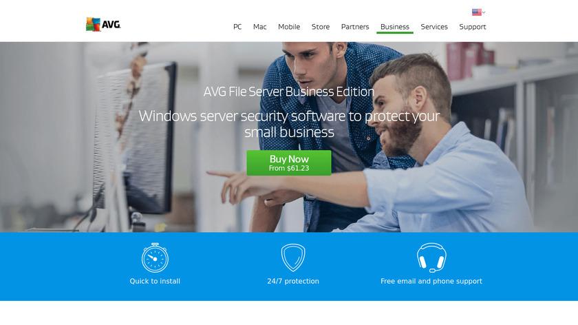AVG File Server Edition Landing Page