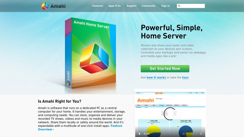 Amahi Home Server Landing Page