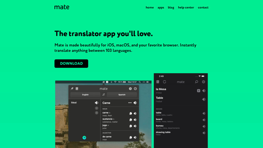 Mate Translate Landing Page