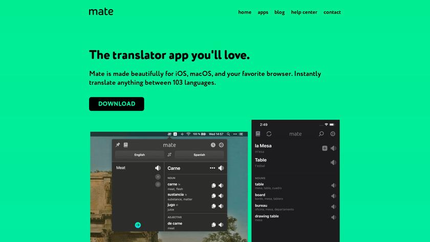 Mate Translate Landing Page