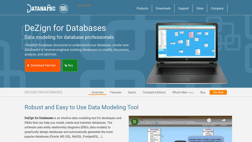 DeZign for Databases Landing Page