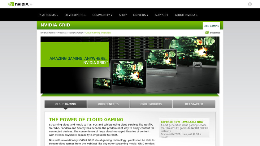 Nvidia Grid Landing Page