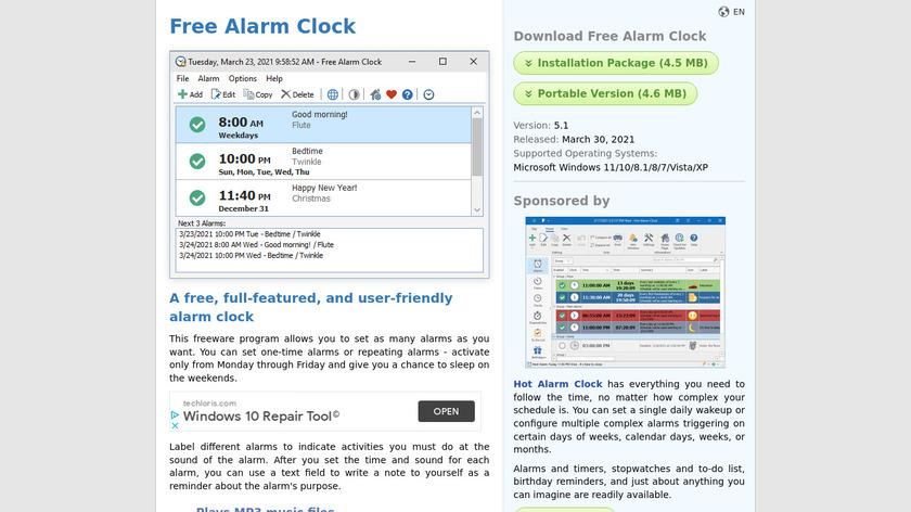 Free Alarm Clock Landing Page