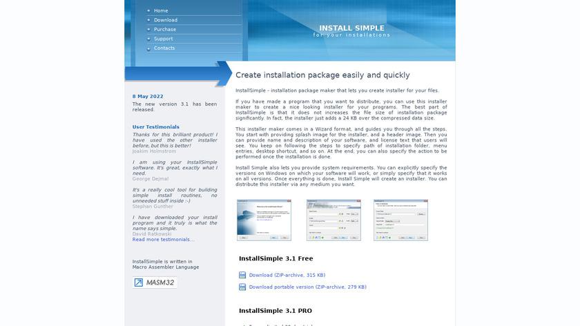 InstallSimple Landing Page