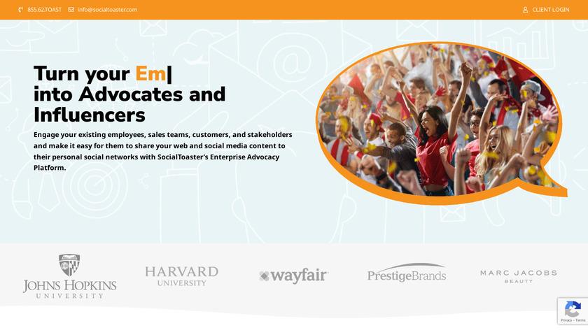 SocialToaster Landing Page