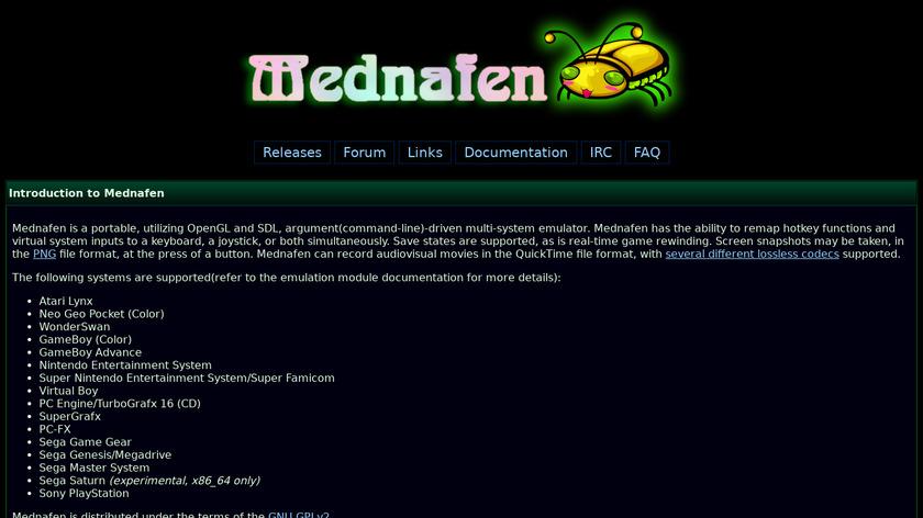 Mednafen Landing Page