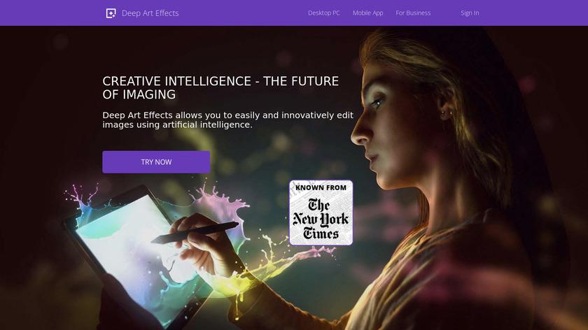 Deep Art Effects Landing Page