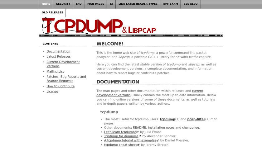 tcpdump Landing Page
