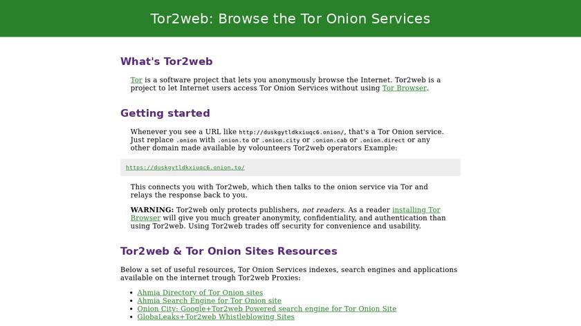 Tor2web Landing Page